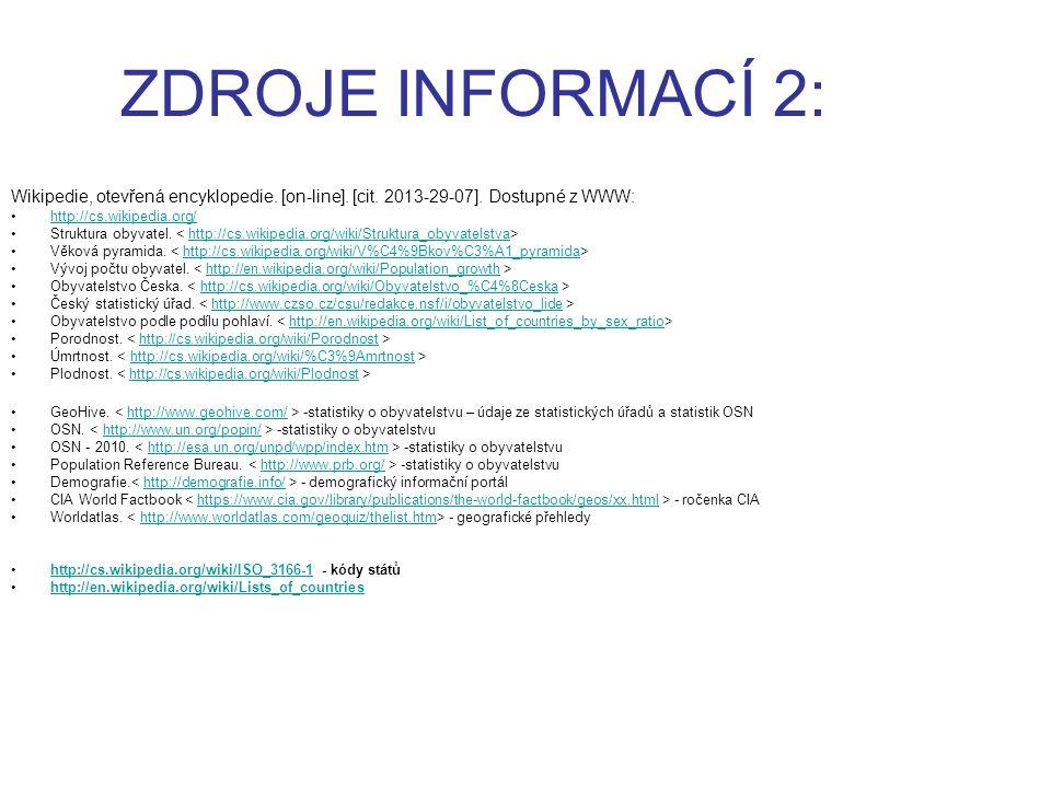 ZDROJE INFORMACÍ 2: Wikipedie, otevřená encyklopedie. [on-line]. [cit. 2013-29-07]. Dostupné z WWW: